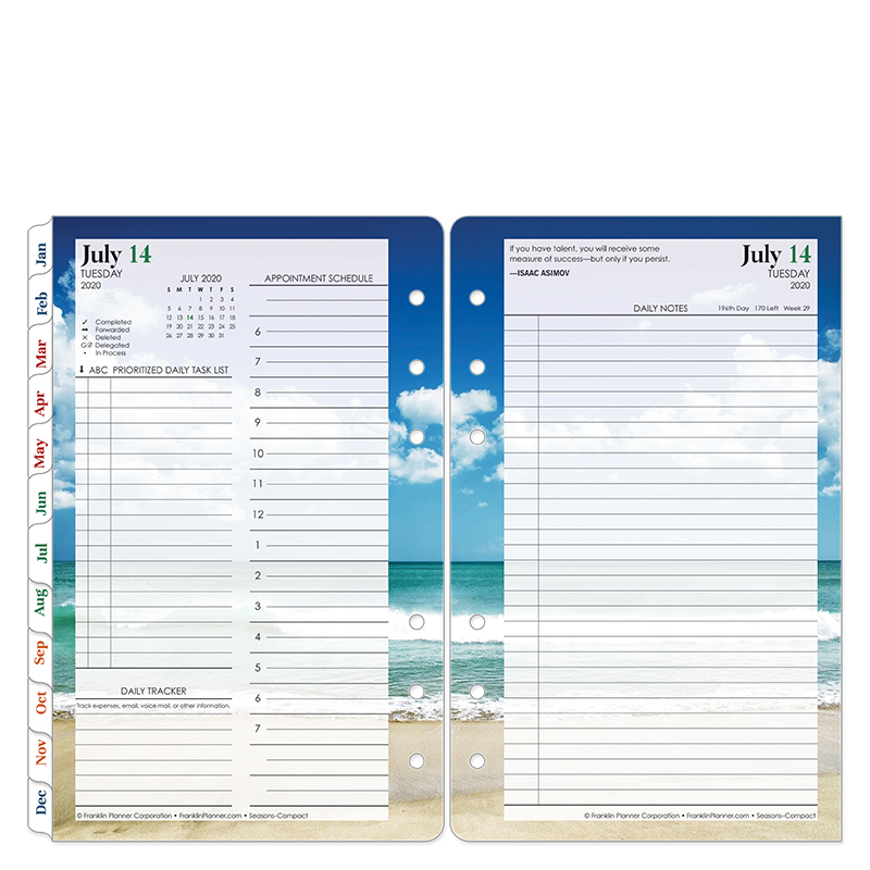 Compact Seasons Two Page Per Day Ring-bound Planner - Jul 2020 - Jun 2021
