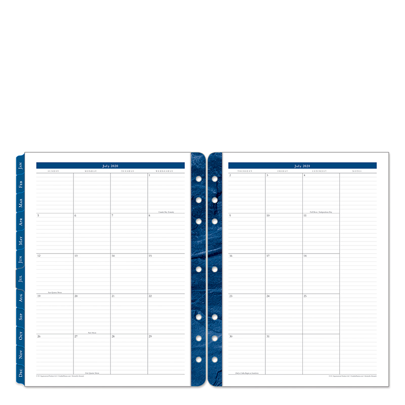 Monarch Monticello Two Page Monthly Ring-bound Tabs - Jul 2020 - Jun 2021