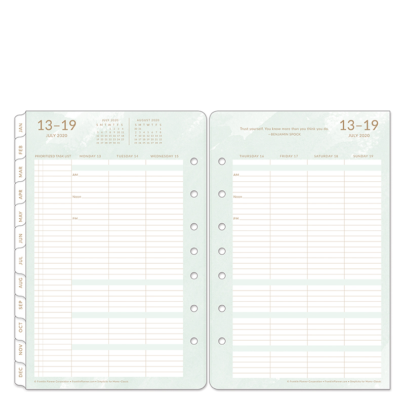 Classic Simplicity For Moms Weekly Ring-bound Planner - Jul 2020 - Jun 2021