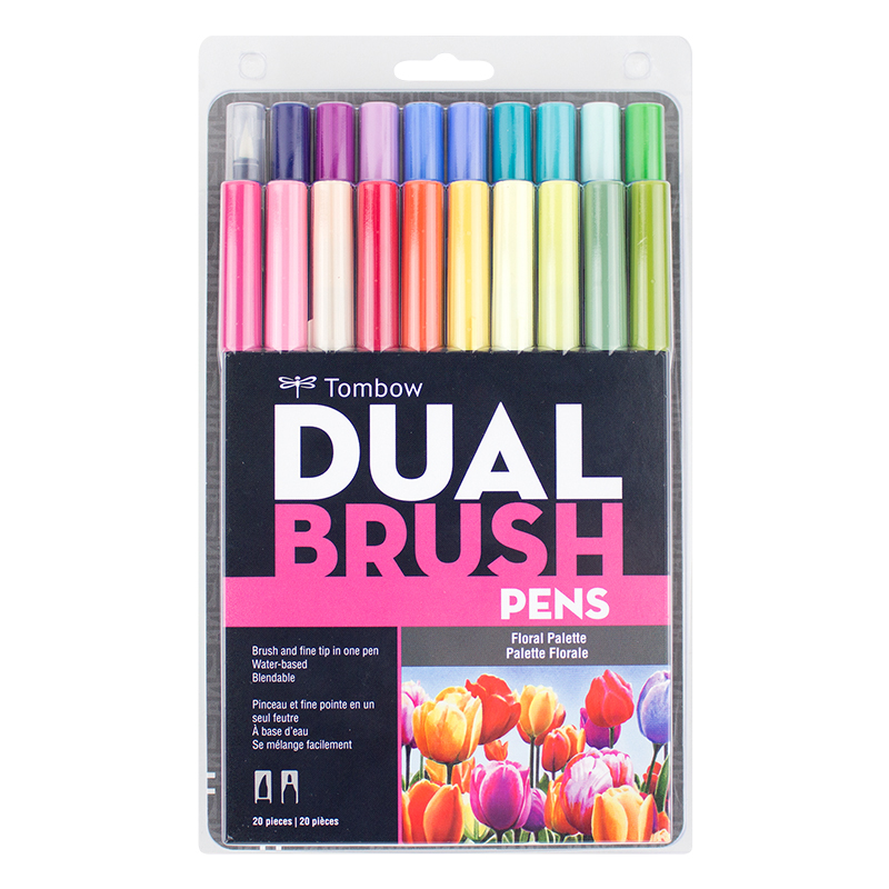 Dual Brush Pen 20pk - Floral