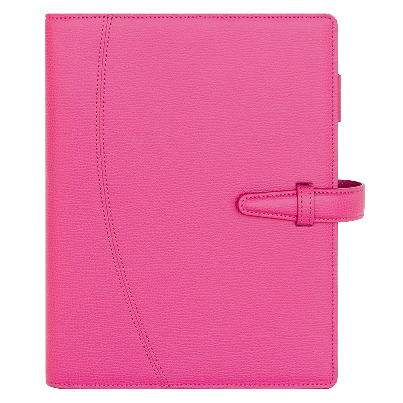 Classic Asari Leather Strap Binder - Hot Pink