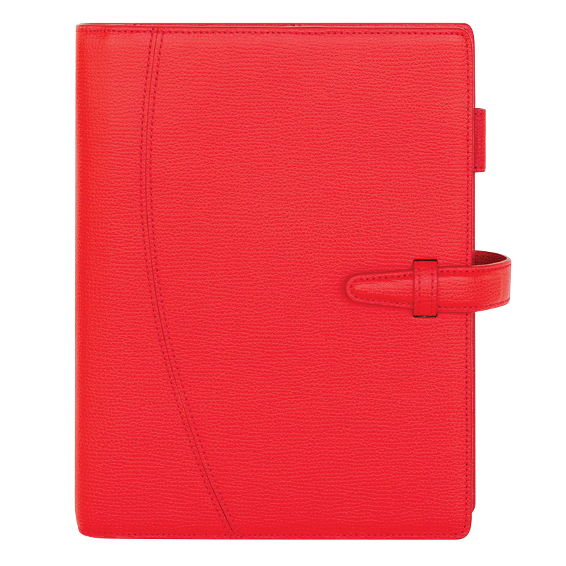 Classic Asari Leather Strap Binder - Imperial Red