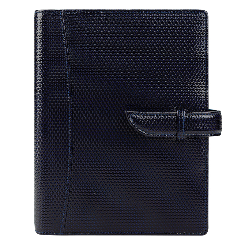 Compact Brie Leather Strap Binder - Midnight