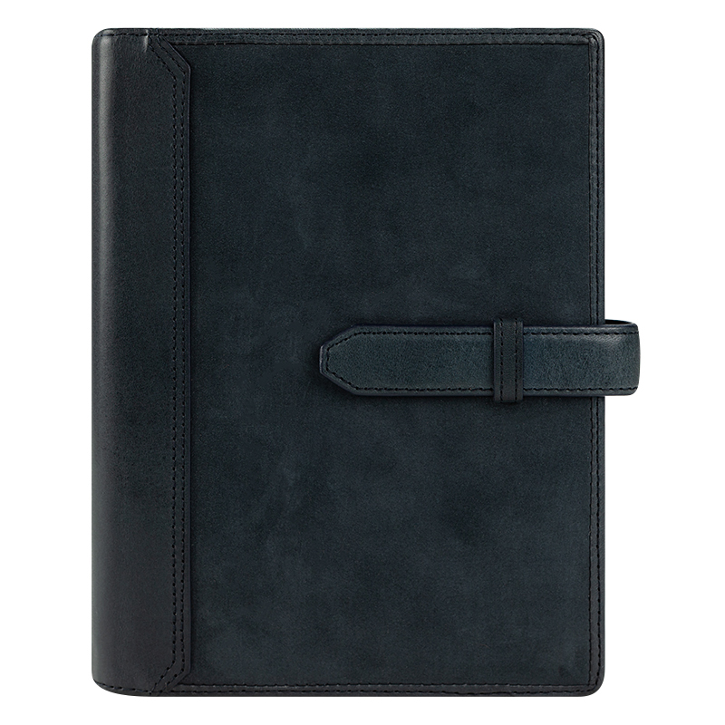 Compact Alex Leather Strap Binder - Steel Blue