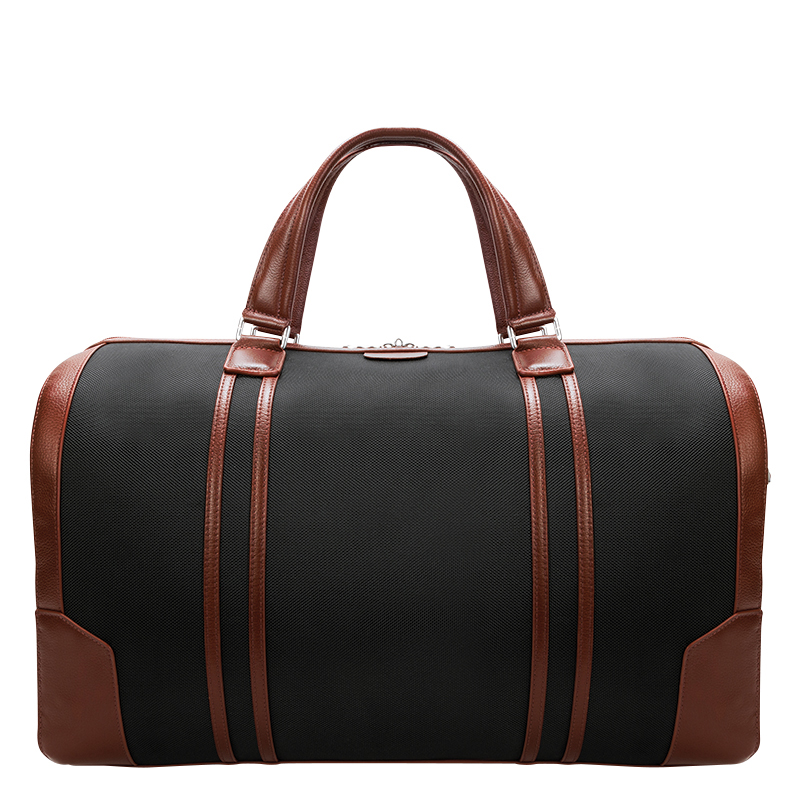Kinzie Nylon with Leather Trim Duffle - Black
