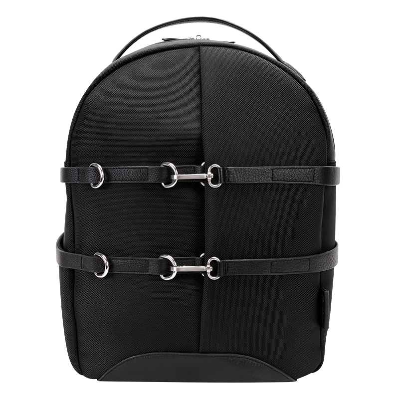 Oakland Nylon with Leather Trim Backpack - Black