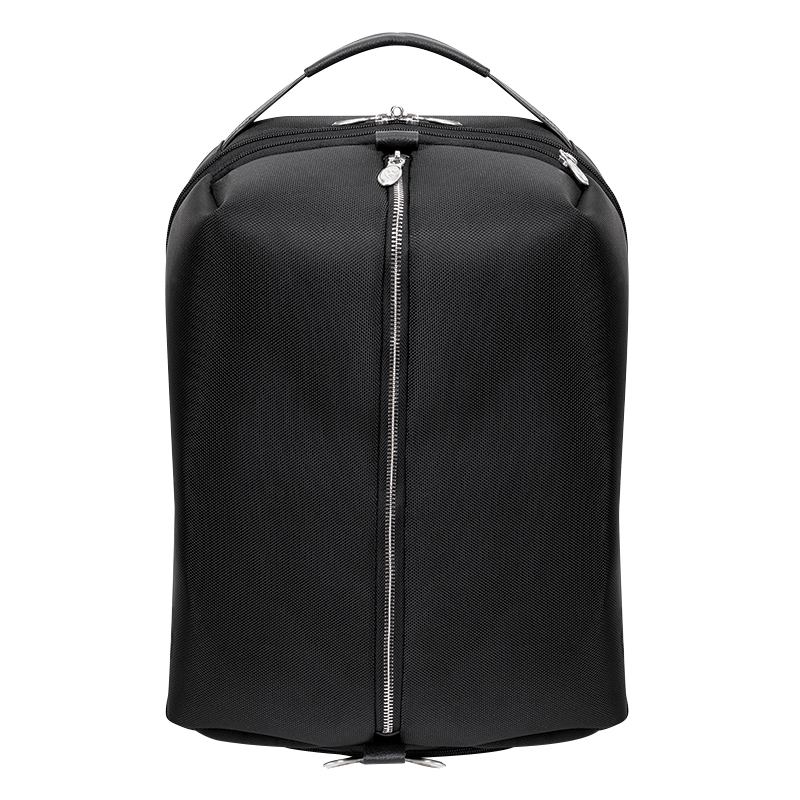 South Shore Nylon with Leather Trim Overnight Backpack - Black