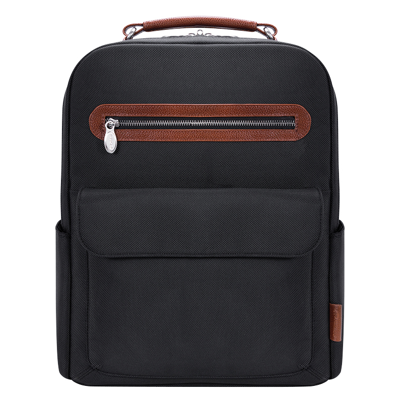 Logan Nylon with Leather Trim Backpack - Black