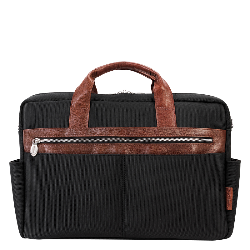 Southport Nylon with Leather Trim Briefcase - Black