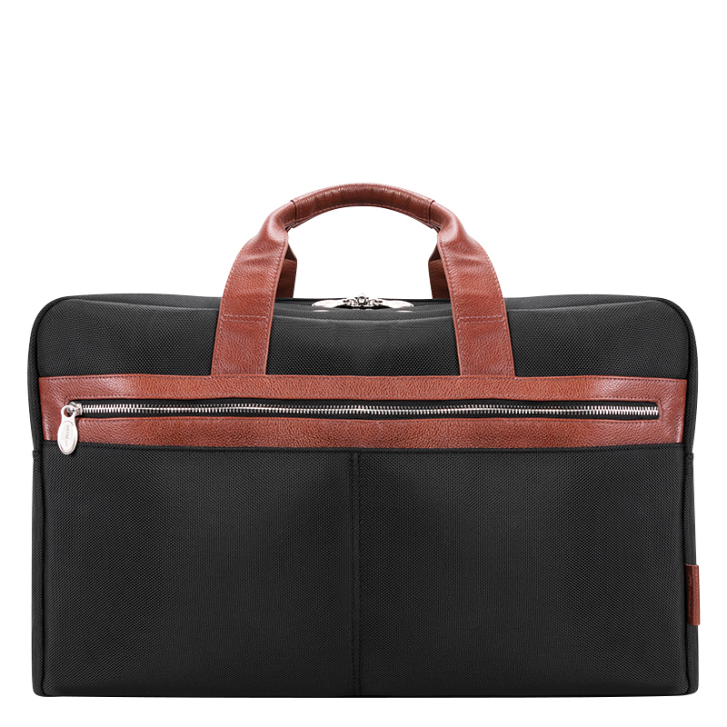 Wellington Nylon with Leather Trim Duffle - Black