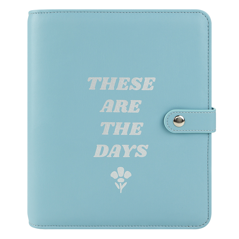 Classic Aster Simulated Leather Snap Binder - Sky Blue