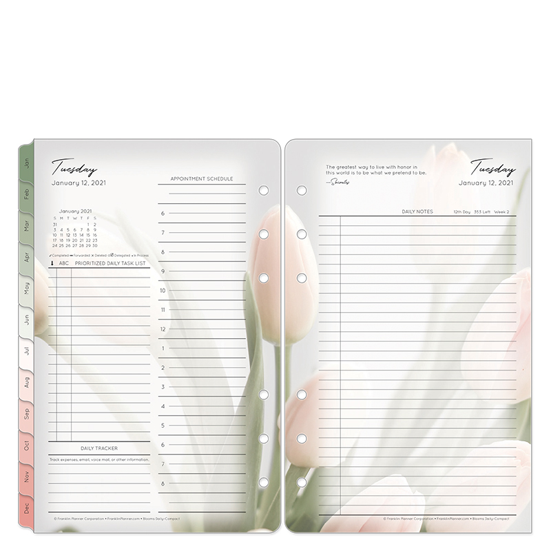 Compact Blooms Daily Ring-Bound Planner - Jan 2021 - Dec 2021