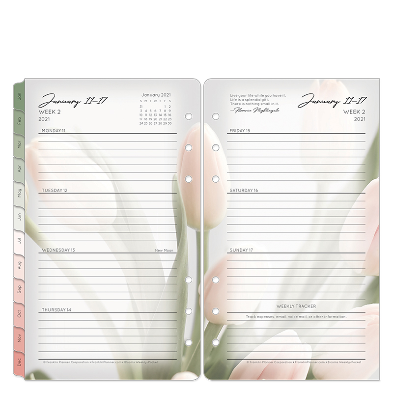Pocket Blooms Weekly Ring-Bound Planner - Jan 2021 - Dec 2021