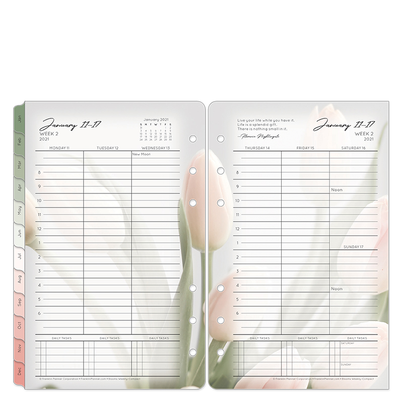 Compact Blooms Weekly Ring-Bound Planner - Jan 2021 - Dec 2021