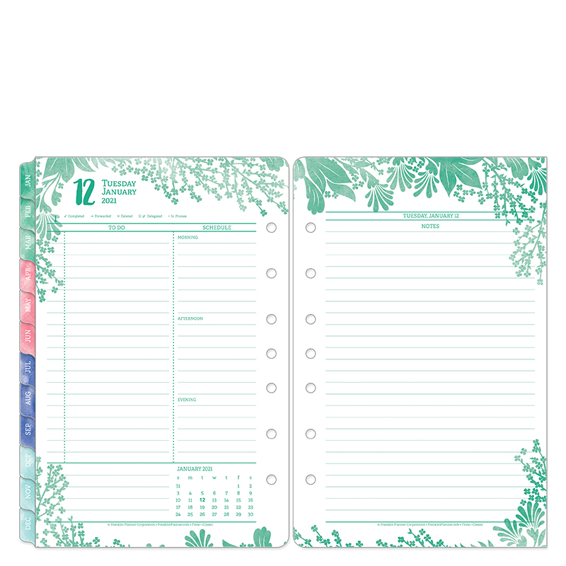 Classic Flora Daily Ring-Bound Planner - Jan 2021 - Dec 2021
