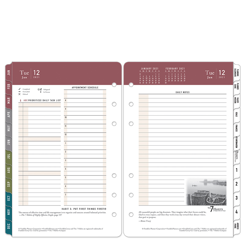 Compact 7 Habits Daily Ring-Bound Planner - Jan 2021 - Dec 2021