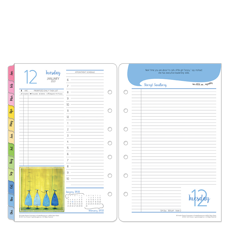 Classic Her Point Of View Two Page Per Day Ring-Bound Planner - Jan 2021 - Dec 2021