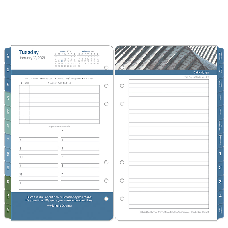 Pocket Leadership Two Page Per Day Ring-Bound Planner - Jan 2021 - Dec 2021