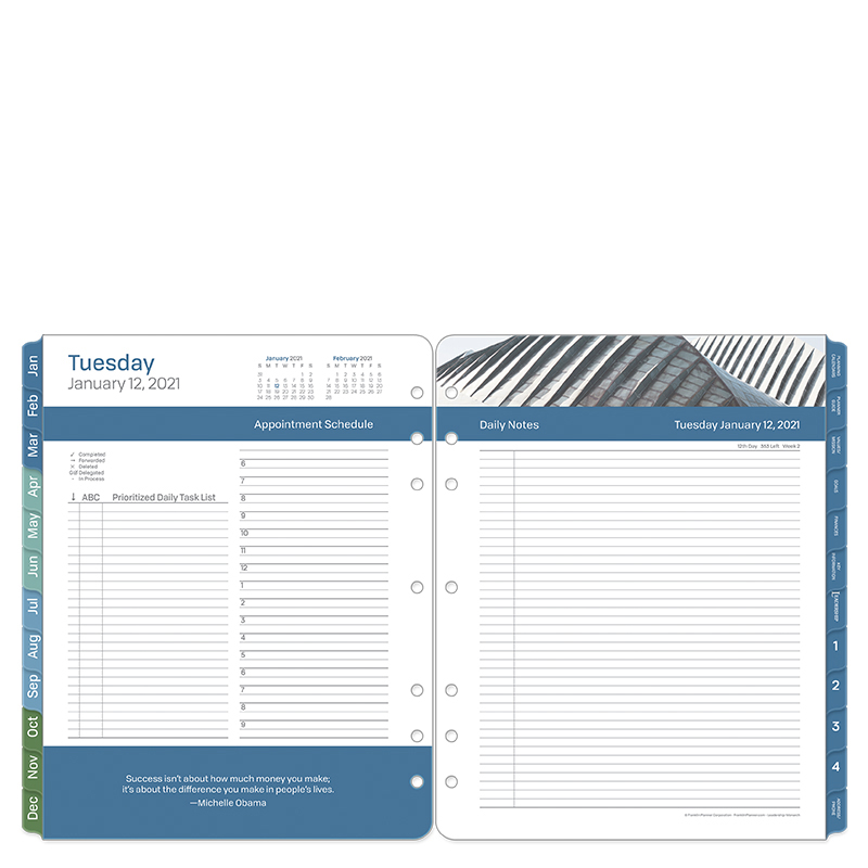 Monarch Leadership Two Page Per Day Ring-Bound Planner - Jan 2021 - Dec 2021