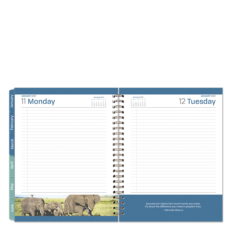 Monarch Leadership 1 Page Per Day 6 Month Wire-Bound Planner  - Jan 2021 - Jun 2021