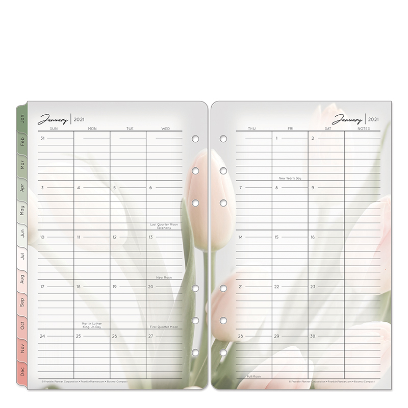 Compact Blooms Two Page Monthly Ring-Bound Tabs - Jan 2021 - Dec 2021