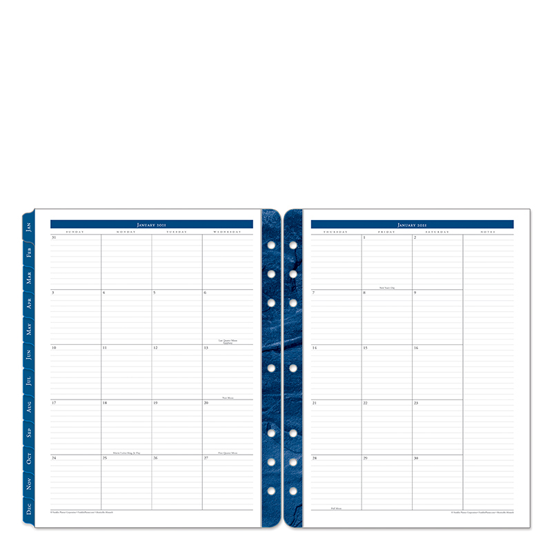 Monarch Monticello Two Page Monthly Ring-Bound Tabs - Jan 2021 - Dec 2021