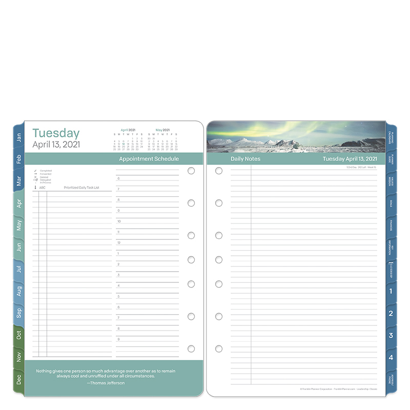 Classic Leadership Two Page Per Day Ring-Bound Planner - Apr 2021 - Mar 2022