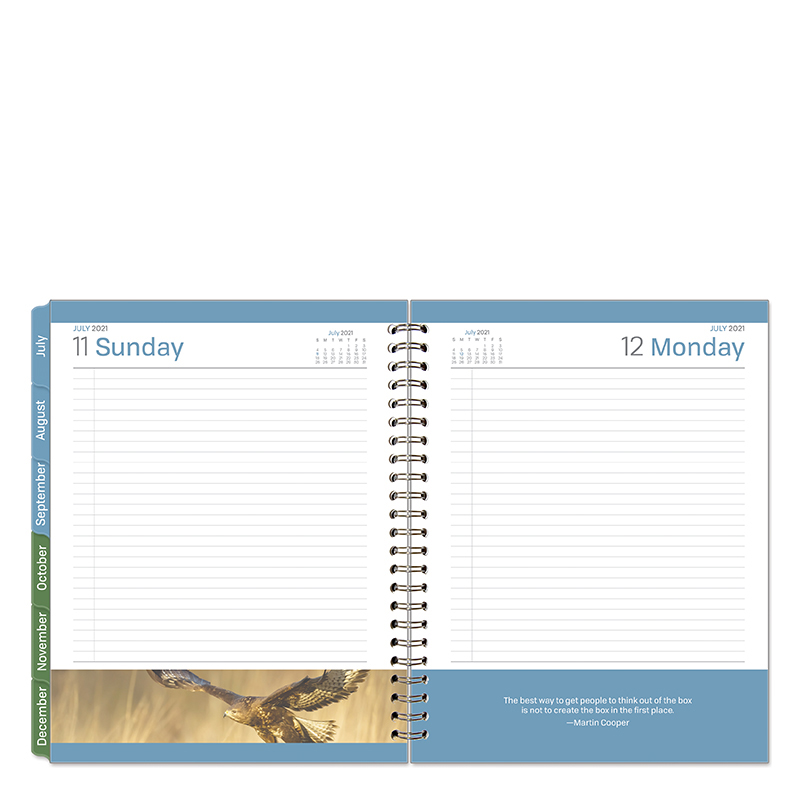 Monarch Leadership 1 Page Per Day 6 Month Wire-Bound Planner - Jul 2021 - Dec 2021
