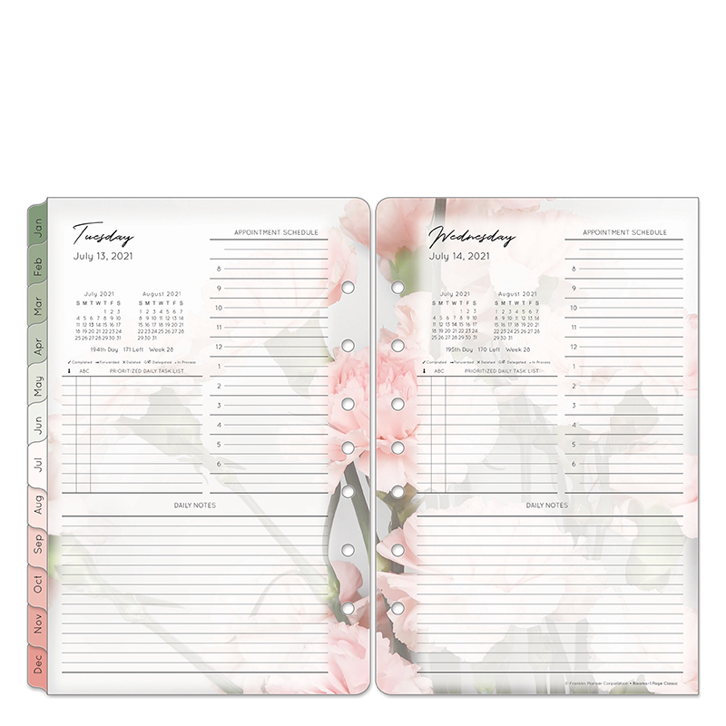 Classic Blooms One Page Per Day Ring-Bound Planner - Jul 2021 - Jun 2022
