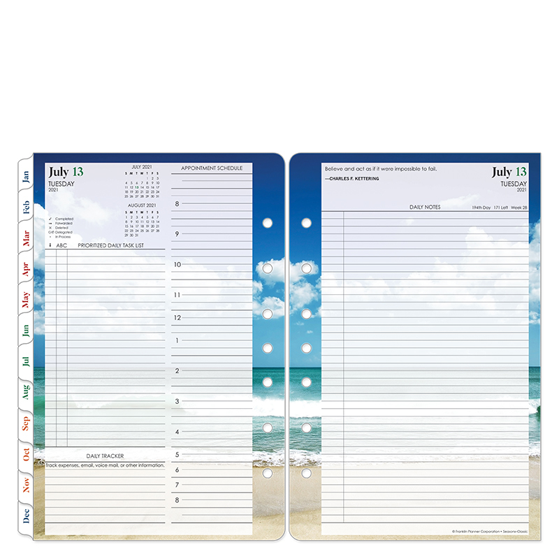 Classic Seasons Two Page Per Day Ring-Bound Planner - Jul 2021 - Jun 2022