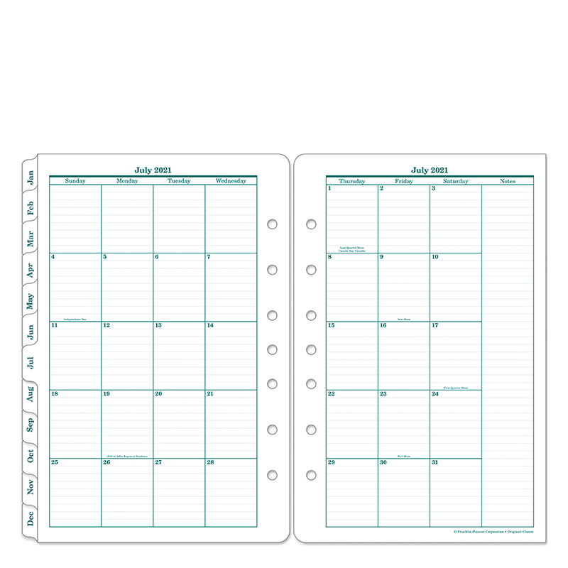 Classic Original Two Page Monthly Ring-Bound Tabs - Jul 2021 - Jun 2022