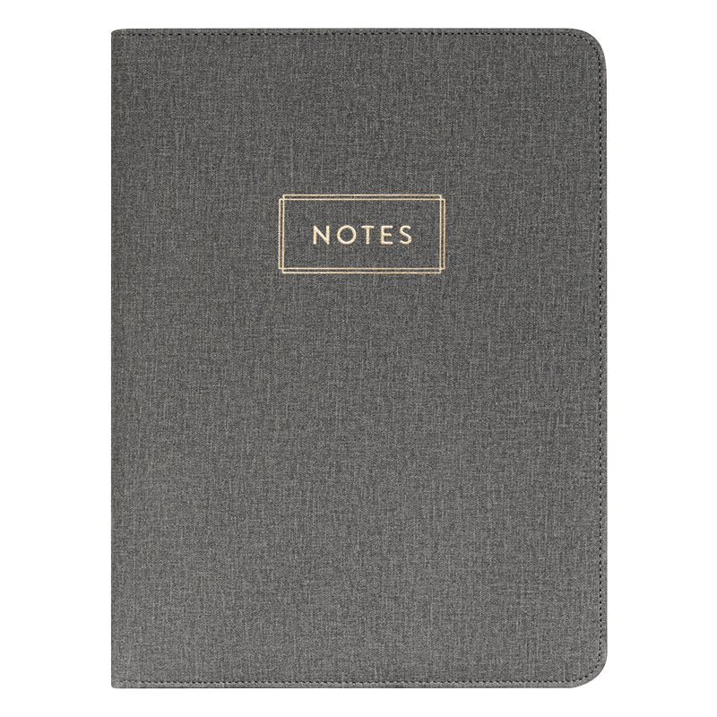 Deluxe Organizer Padded Padfolio - Gray Notes