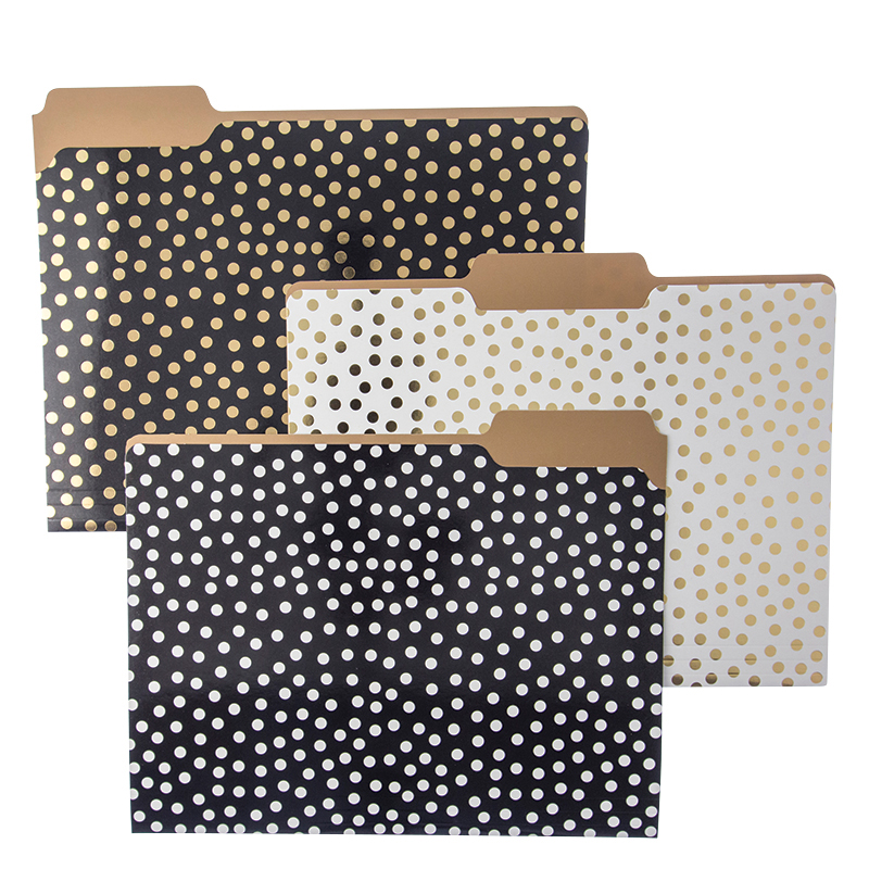 Folder Set - Black/White Polka Dot