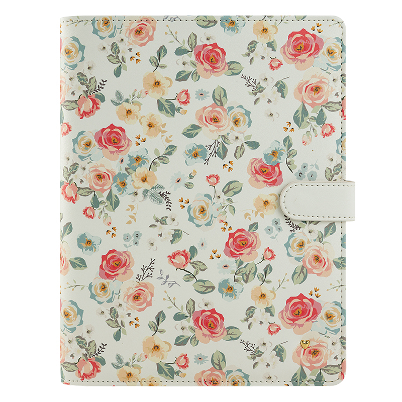 Classic Planner Love Gingham Gardens Simulated Leather Wirebound Cover - Floral