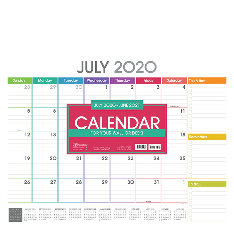 Academic Rainbow Blocks Large Desk Pad Calendar - July 2020-2021