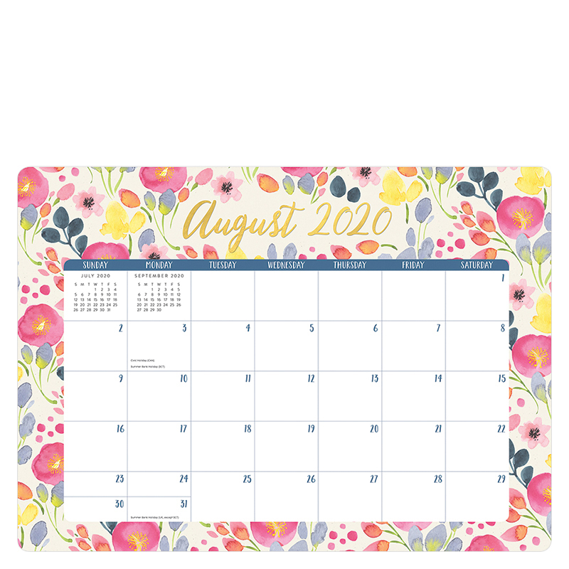 Bold Blossoms Decorative 2021 Desk Blotter