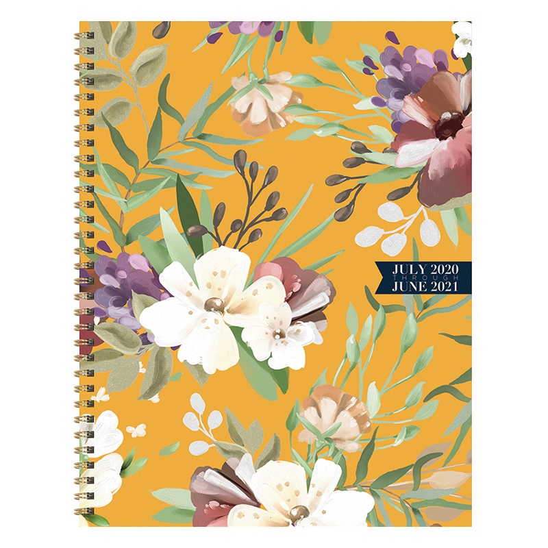 Golden Flowers Large Weekly/Monthly July 2020-2021 Academic Planner
