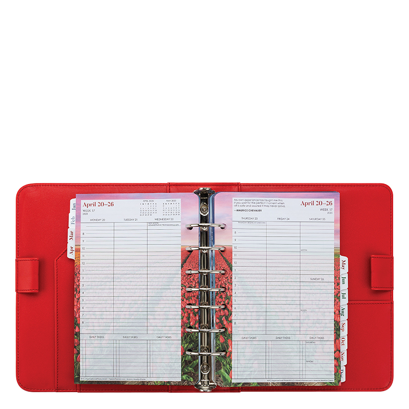 Classic Saige Simulated Leather Red Binder With Seasons Weekly Planner - Jul 2020 - Jun 2021