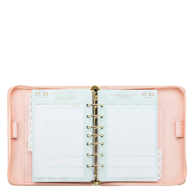 Classic Holly Simulated Leather Pink Binder With Simplicity For Moms Weekly Planner - Jul 2020 - Jun 2021