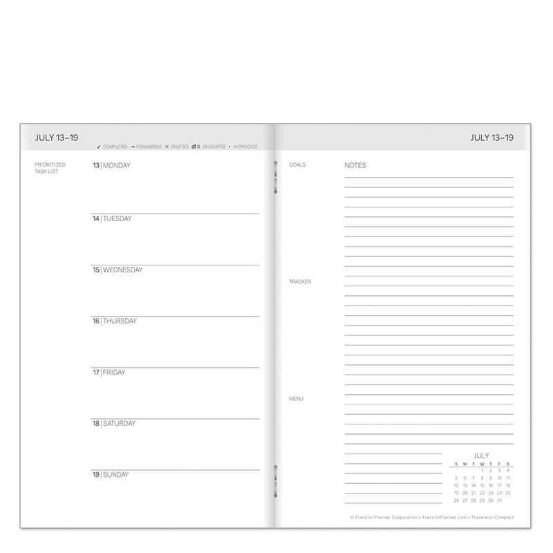 Compact Travelers Weekly 6-Month Planner - White Jul20 - Dec20