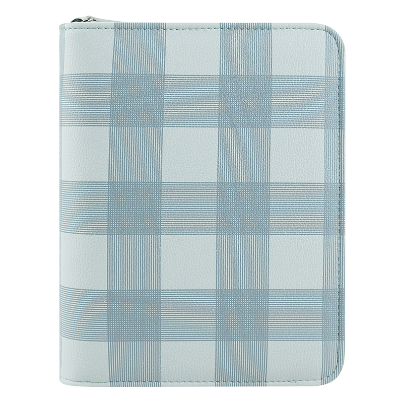 Compact Abigail Simulated Leather Zipper Binder - Blue Plaid