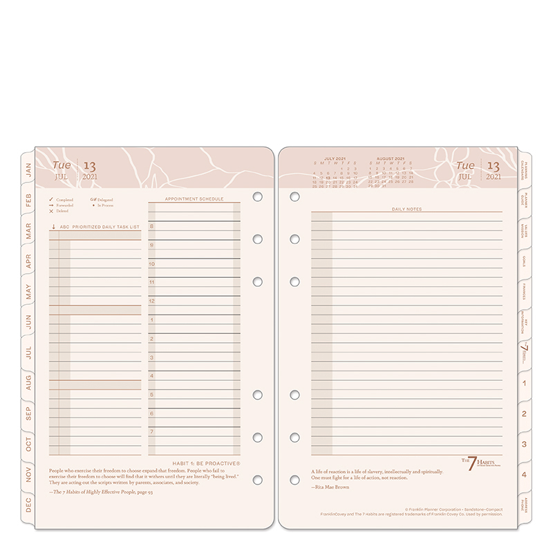 Compact Sandstone Two Page Per Day Ring-bound Planner - Jul 2021 - Jun 2022