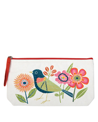 Avian Friends Embroidered Pouch