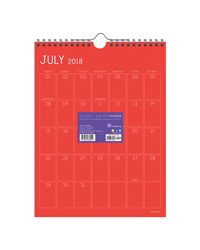 Color Collection Monthly Grid Academic Year Calendar - 2018/2019