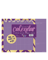 Violet and Gold Open Dated Mini Desk Pad Calendar