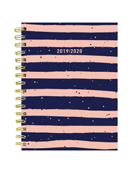 Navy and Pink Stripes Medium Weekly/Monthly Academic Planner - July 2019 - June 2020
