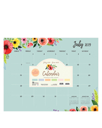 Academic Classic Floral Large Desk Pad Calendar - July 2019 - June 2020