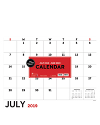 Academic Basic Utility Large Desk Pad Calendar - July 2019 - June 2020