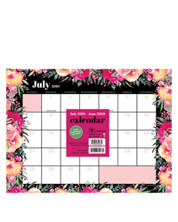 Academic Floral Bouquet Mini 9x12 Desk Pad Calendar - July 2019 -June 2020