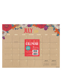 Academic Floral Kraft Mini 9x12 Desk Pad Calendar - July 2019 -June 2020